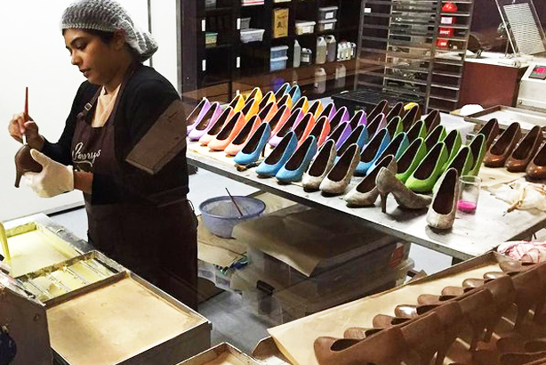 hand crafting chocolate shoes